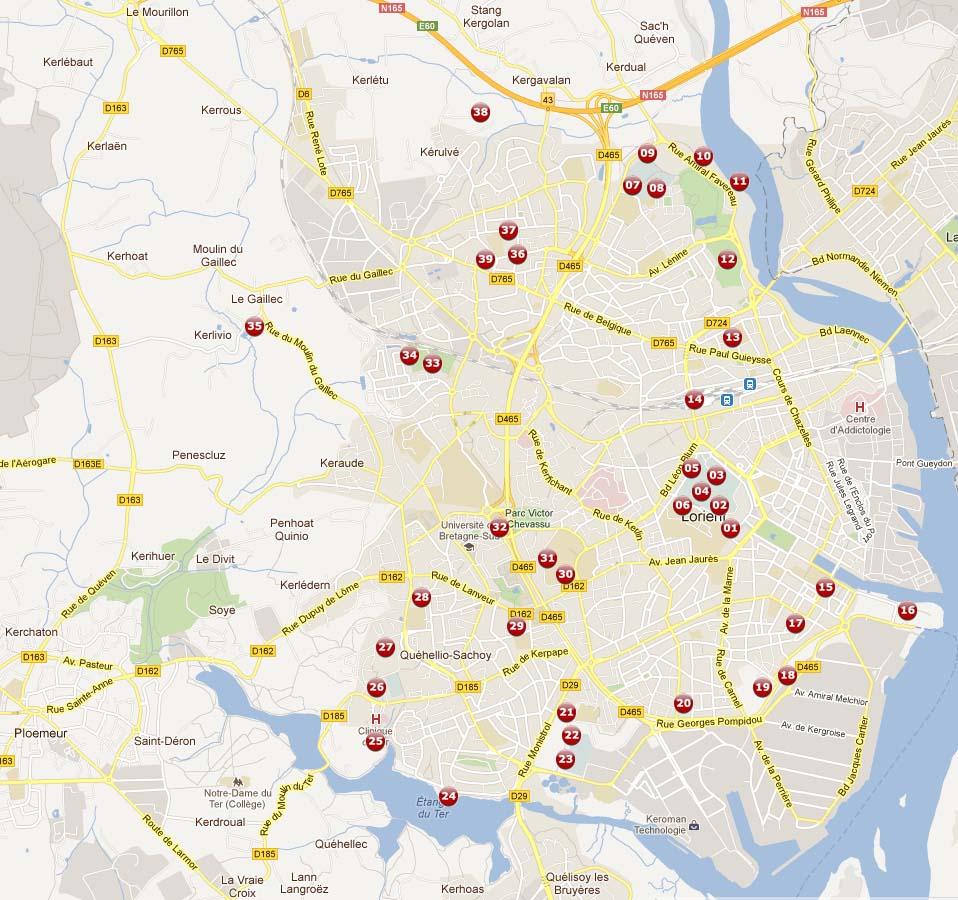 Plan De La Ville De Lanester